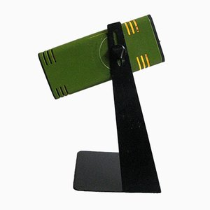 Lámpara de escritorio ajustable de metal lacado en verde y negro, años 70