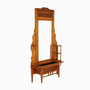 Large Art Nouveau Cherrywood Mirror with Jardiniere