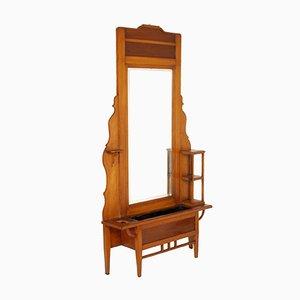 Specchio grande in stile liberty in ciliegio con vaso