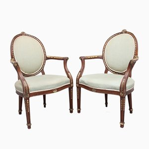 Mahogany Open Armchairs, 1920s, Set of 2