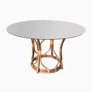 Table en Bambou Mid-Century avec Plateau en Verre, Italie, 1970s