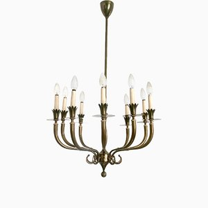 Ten-Arm Brass Chandelier, 1940s