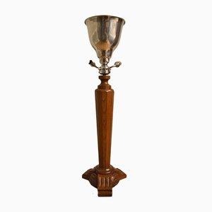Lámpara de mesa Art Déco de madera, metal cromado y aluminio, años 30