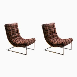 Chrome and Jacquard Lounge Chairs, 1970s, Set of 2