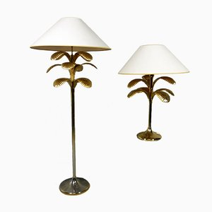 Palm Tree Floor & Table Lamp, 1970s, Set of 2