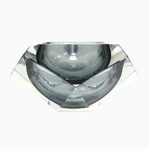 Cenicero en forma de diamante de cristal de Murano ahumado gris, años 60