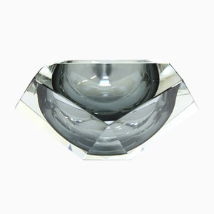 Smoked Grey Murano Glass Diamond-Shaped Ashtray, 1960s