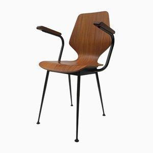Mid-Century Armlehnstuhl aus industriellem Schichtholz von Carlo Ratti für Industria Legni Curvati