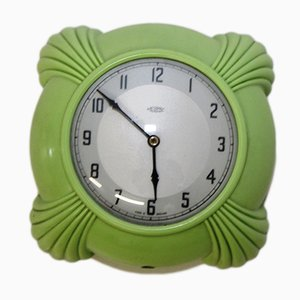 English Green Bakelit Wall Clock, 1930s