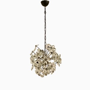 Lámpara de araña vintage con flores de cristal de Murano