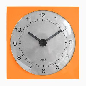Orange Modern Wall Clock from Krups, 1960s