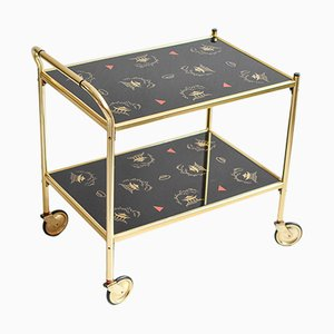 Mid-Century Modern Brass Bar Cart