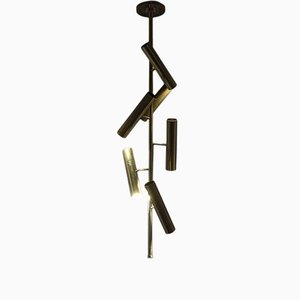 Italian Tubes Brass Ceiling Lamp by Franco Mariotti for Edizione Flair