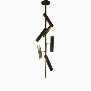 Lampada da soffitto tubolare in ottone di Franco Mariotti per Edizione Flair, Italia