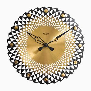 Large Brass Wall Clock from Weimar, 1960s