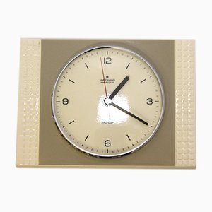 Grey and Beige Glazed Electronic Porcelain Wall Clock from Junghans, 1960s