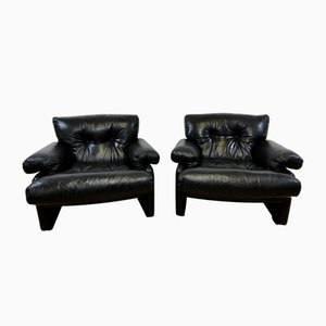 Coronado Black Leather Armchairs by Afra and Tobia Scarpa for B&B Italia, 1970s, Set of 2