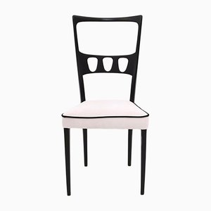 White Velvet Dining Chairs with Black Edges, 1950s, Set of 6