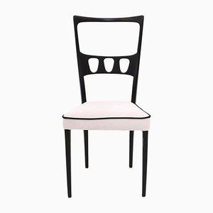 White Velvet Dining Chairs with Black Edges, 1950s, Set of 6