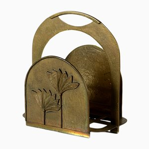 Large Brass Newspaper Rack, 1930s