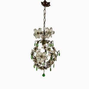 Lámpara de araña vintage con flores de cristal de Murano y colgantes verdes