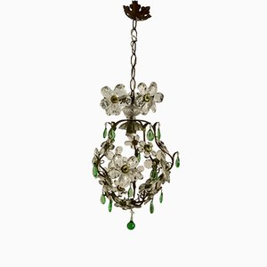 Vintage Murano Flower Chandelier with Green Pendants
