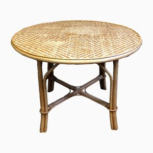 Vintage Bamboo Wicker Table, 1970s