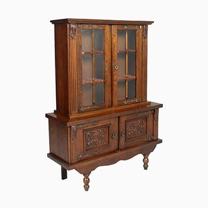 Spanish Oak Credenza with Display Cabinet, 1920s