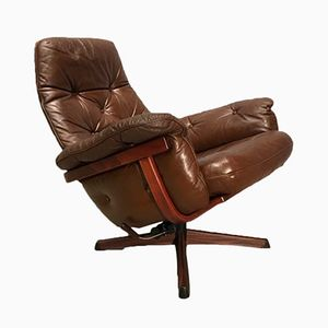 Scandinavian Rotating Leather Armchair from G-Möbel, 1970s
