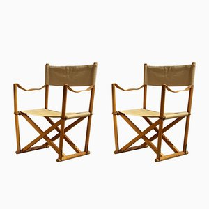 Danish MK 16 Foldable Armchairs by Mogens Koch, 1930s, Set of 2