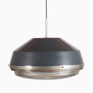Lámpara colgante industrial Mid-Century de vidrio prensado de Stilnovo