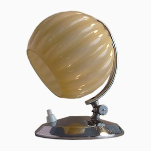 Art Deco Nickel-Plated Table Lamp with Ribbed Beige Glass Shade, 1930s