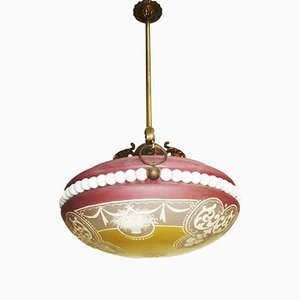 Vintage Florentine Ceiling Lamp with Carrara Marble, 1920s