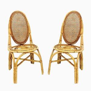 Vintage Stühle aus Korbgeflecht, 1970er, 2er Set