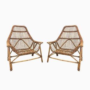 Wicker Chairs by Dirk van Sliedregt, 1960s, Set of 2