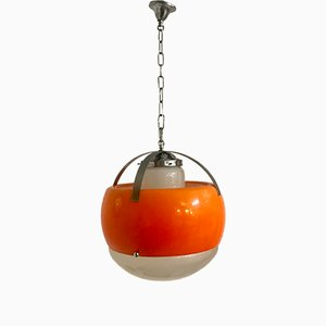 Mid-Century Murano Opaline and Orange Acrylic Pendant Light