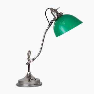 Lampada da tavolo Art Deco in metallo nichelato e vetro, anni '20