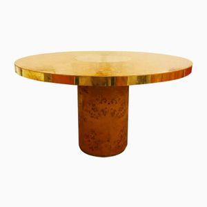 Round Brass & Burl Dining Table by Willy Rizzo for Mario Sabot, 1970s