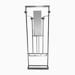 Freistehende Art Deco Garderobe aus Aluminium mit Spiegel