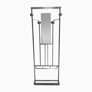 Perchero de pie Art Déco de aluminio con espejo