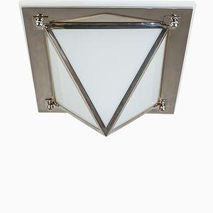 Art Deco Opaline Glass Pendant Lamp, 1930s