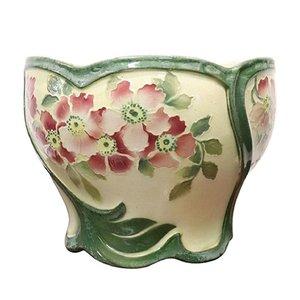 Handbemalte Jugendstil Vase aus Keramik, 1920er