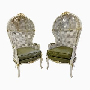 Cane Canopy Porter Chairs, 1920s, Set of 2