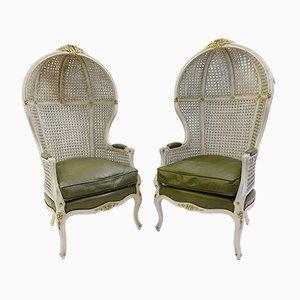 Porter Stühle aus Schilfrohr mit Baldachin, 1920er, 2er Set