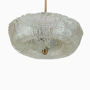 Lampada da soffitto in ottone e vetro di J.T. Kalmar, anni '60