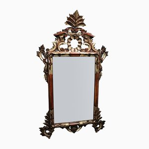 Espejo vintage tallado y plateado, años 50