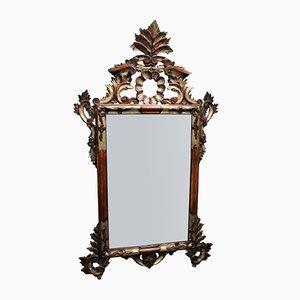 Vintage Spiegel im geschnitztem und versilbertem Rahmen, 1950er