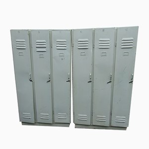Industrial Iron Locker with 3 Doors, 1970s, Set of 2
