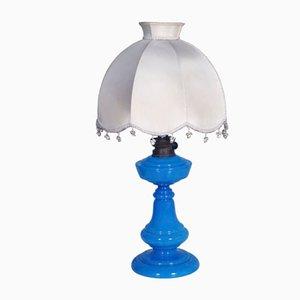 Art Deco Tischlampe aus blauem Muranoglas von Cappellin für Venini, 1930er