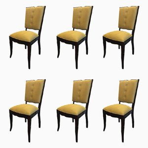French Art Deco Dining Chairs, Set of 6